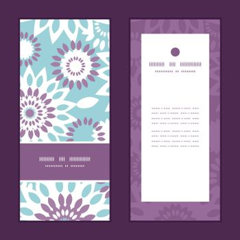 Vector purple and blue floral abstract vertical frame pattern invitation greeting cards set graphic design