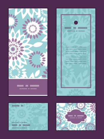 Vector purple and blue floral abstract vertical frame pattern invitation greeting, RSVP and thank you cards set graphic design