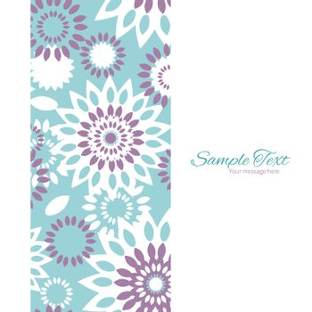Vector purple and blue floral abstract vertical frame seamless pattern background graphic design