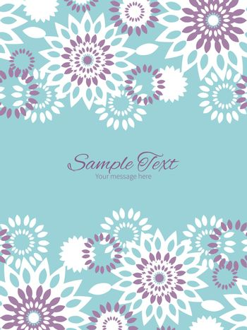 Vector purple and blue floral abstract vertical double borders frame invitation template graphic design