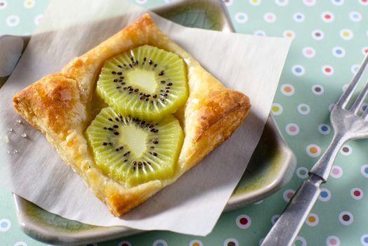 Kiwi Tart on flaky pastry crust