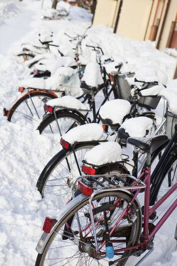 Bicycles at wintertime