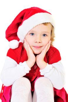 little pretty santa girl on over the white