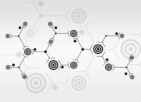 Abstract composition of black lines and circles on white background