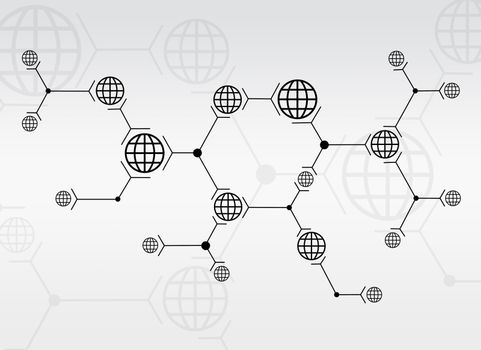Abstract composition of black lines and globes on white background
