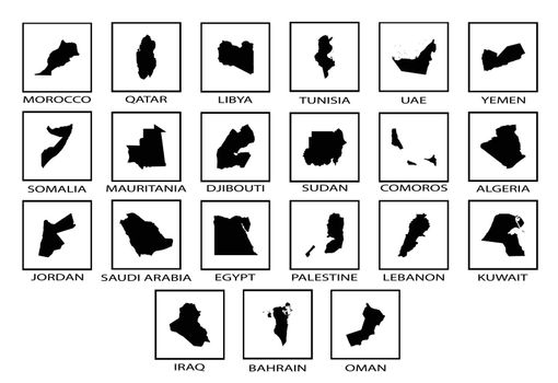 Silhouette maps of the countries of the Arab League