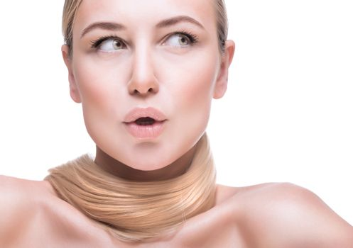 Closeup portrait of a beautiful face with natural makeup, blond woman with perfect straight ponytail around her neck isolated on white background, hair care and fashion styling concept