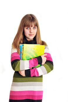 school-girl wearing striped dress holding books