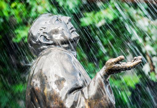 Monument in rain