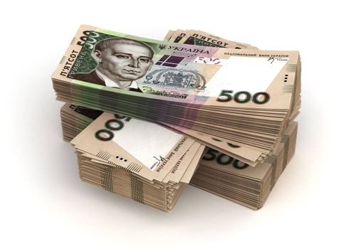 Stack of Ukrainian Hryvnia (isolated with clipping path)