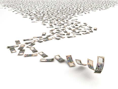 Falling Ukrainian Hryvnia (isolated with clipping path)