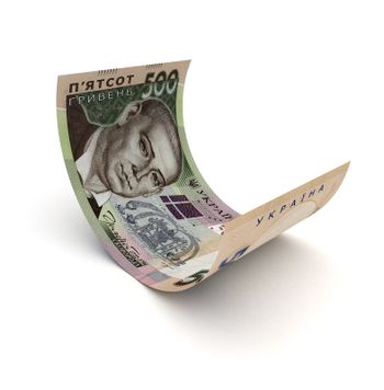 Curled Up Ukrainian Hryvnia (isolated with clipping path)