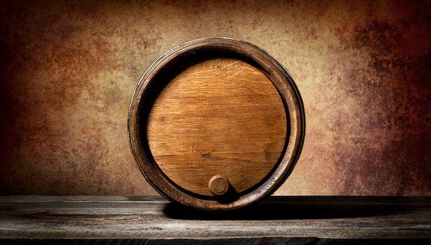 Barrel on brown background