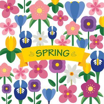 spring flower background flat design