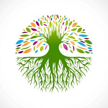 Illustration of Multicolored Round Abstract Vitality Tree  Logo Design