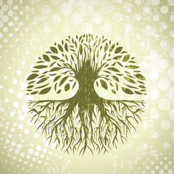 Illustration of Green Round Abstract Vintage Tree Background
