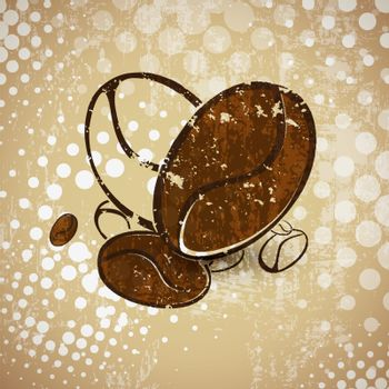 Illustration of Abstract Vintage Coffee Beans Heart Background
