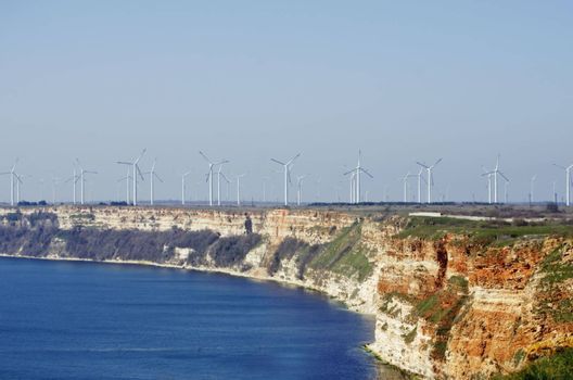 Photo of the Black Sea Landscaping View With Windmills