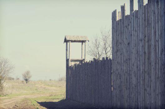Old Wooden Fort Over Rural Landscape