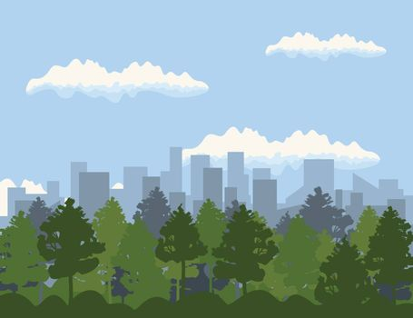 Landscape of a city and trees. A vector illustration