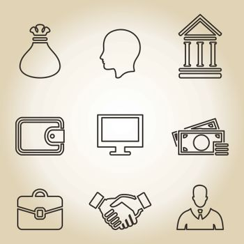 Outline a set of icons business. A vector illustration