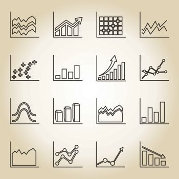 Outline a set of icons of schedules. A vector illustration