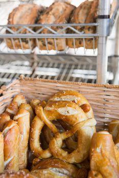 Basket filling with delicious pretzel