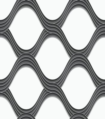 3D gray overlapping waves on white