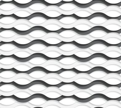 3D overlapping black and white waves