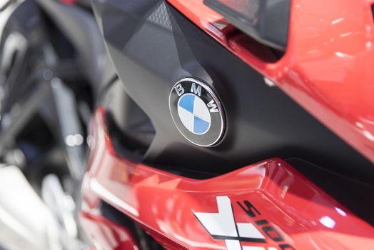 BANGKOK,THAILAND - APRIL 4 : BMW big bike  show on April 4,2015 at the 36th Bangkok international motor show in Thailand.Close up on BMW logo.