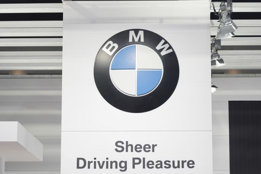 BANGKOK,THAILAND - APRIL 4 : BMW logo on April 4,2015 at the 36th Bangkok international motor show in Thailand.