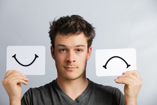 Portrait of a Man Holding Happy and Unhappy Survey Mood Board
