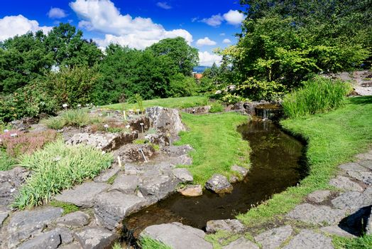 Small river at botanical garden
