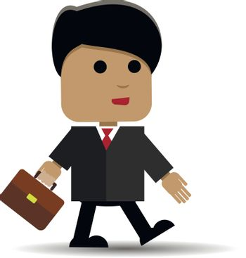 Abstract illustration of a businessman with a briefcase comes