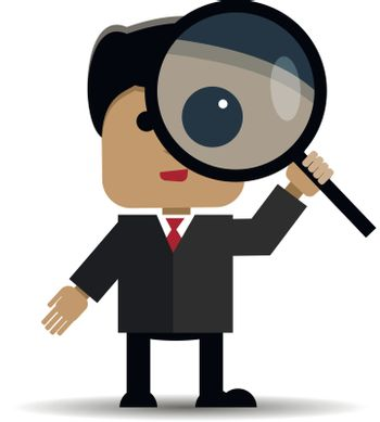 Abstract illustration of man with a magnifying glass