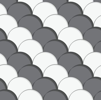 3D white and gray overlapping half circles