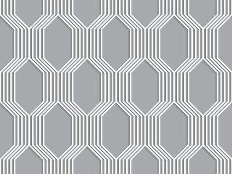 3D white striped braid o gray
