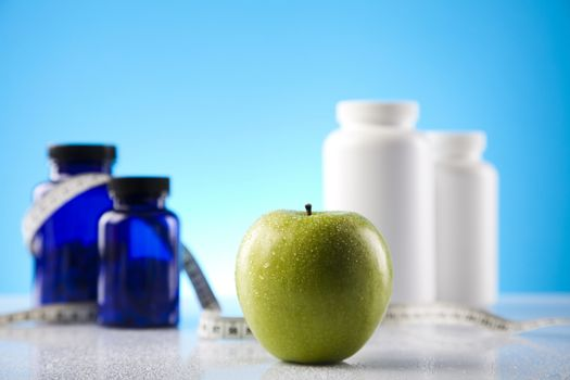 Fitness supplement and blue background