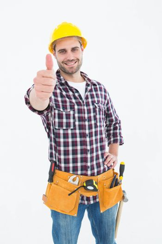 Handyman gesturing thumbs up