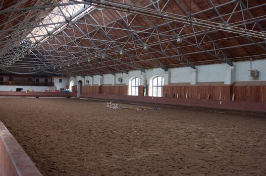 Indoor riding hall. Kaliningrad region. Russia. Preparing for competition horses.
