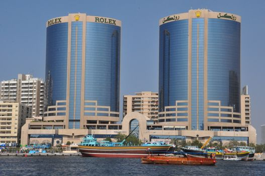 The Twin Towers of Dubai Creek in Dubai, UAE. Also known as Rolex Towers, each building is 102 metres (335 ft) in height and has 22 floors.