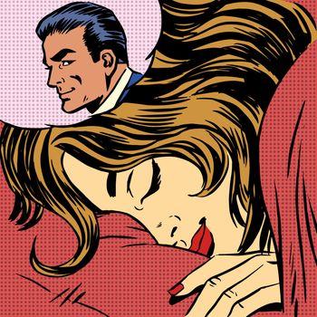 Dream woman man love romance lovers pop art comics retro style Halftone. Imitation of old illustrations