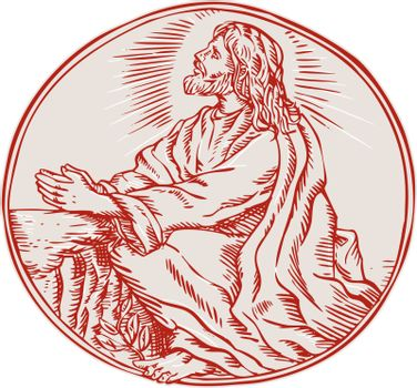 Jesus Christ Agony in the Garden Etching