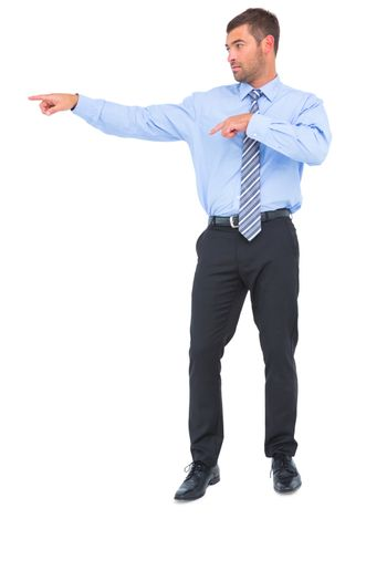 Businessman pointing with fingers