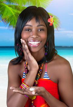 Cheerful female on the beach
