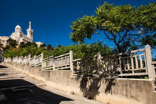 View of Notre-Dame de la Garde basilica in Marseille