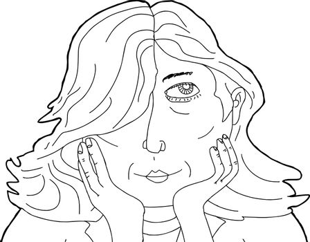 Outline of Pretty Lady with Hands on Chin