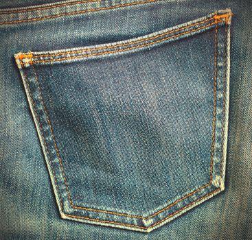 jeans pocket, close up