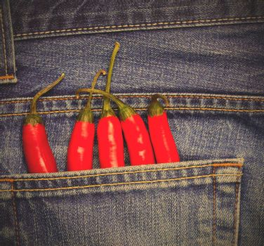red hot chili peppers in a jeans pocket. instagram image style