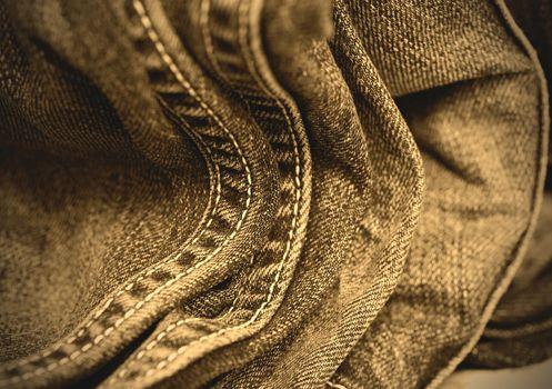 blue jeans double seams, close up. instagram image retro style